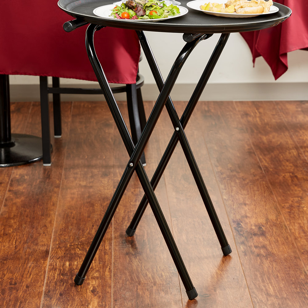 "Lancaster Table & Seating 31"" Folding Black Metal Tray Stand"