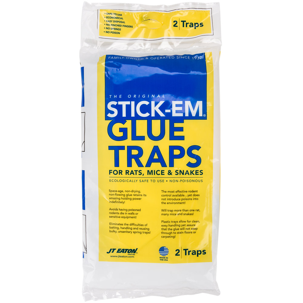 JT Eaton 111PRE Stick-Em Pre-Baited Rat & Mouse Glue Trap with Peanut Butter Scent - 2/Pack