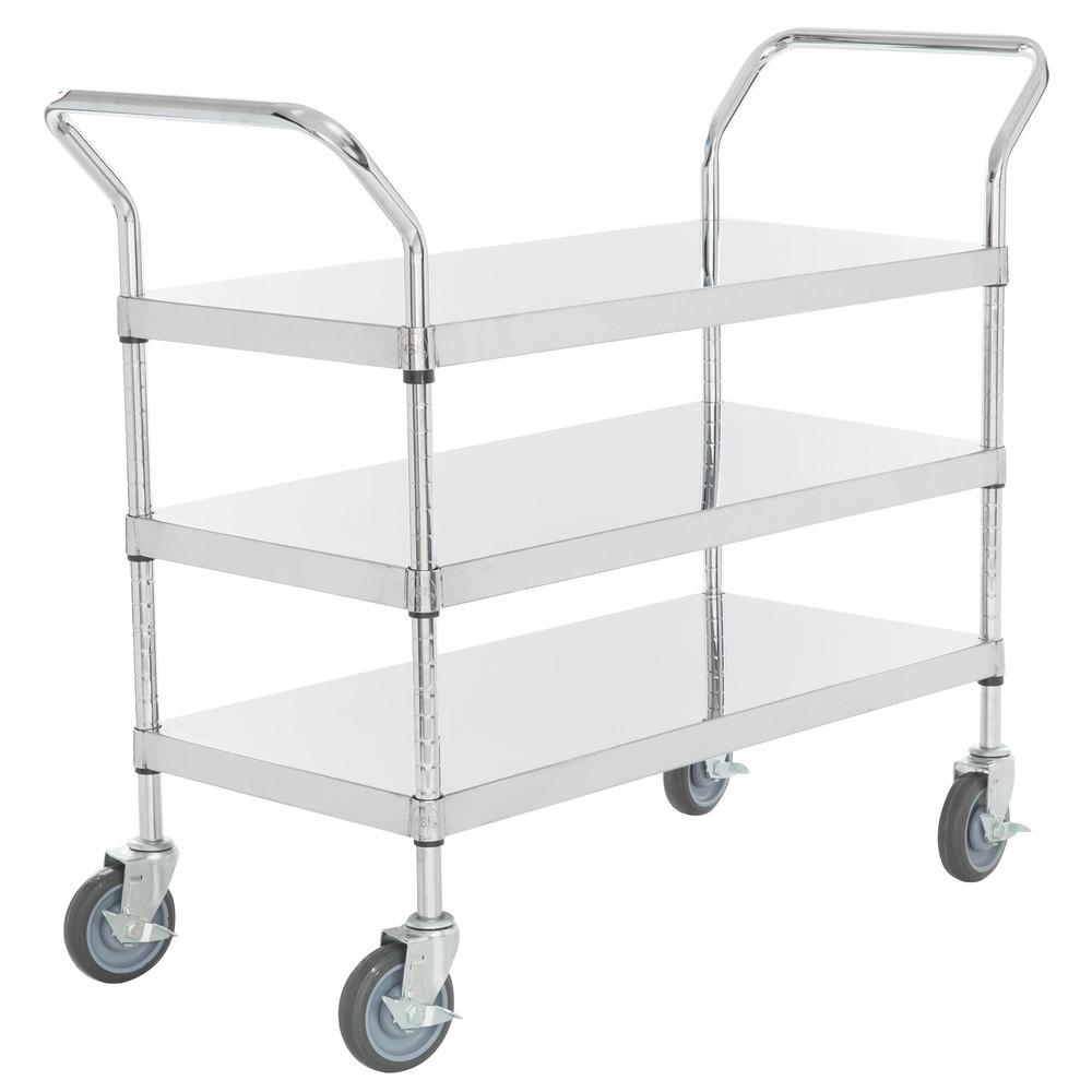 Regency Stainless Steel Three Shelf Utility Cart - 36 inch x 18 inch x 37 inch