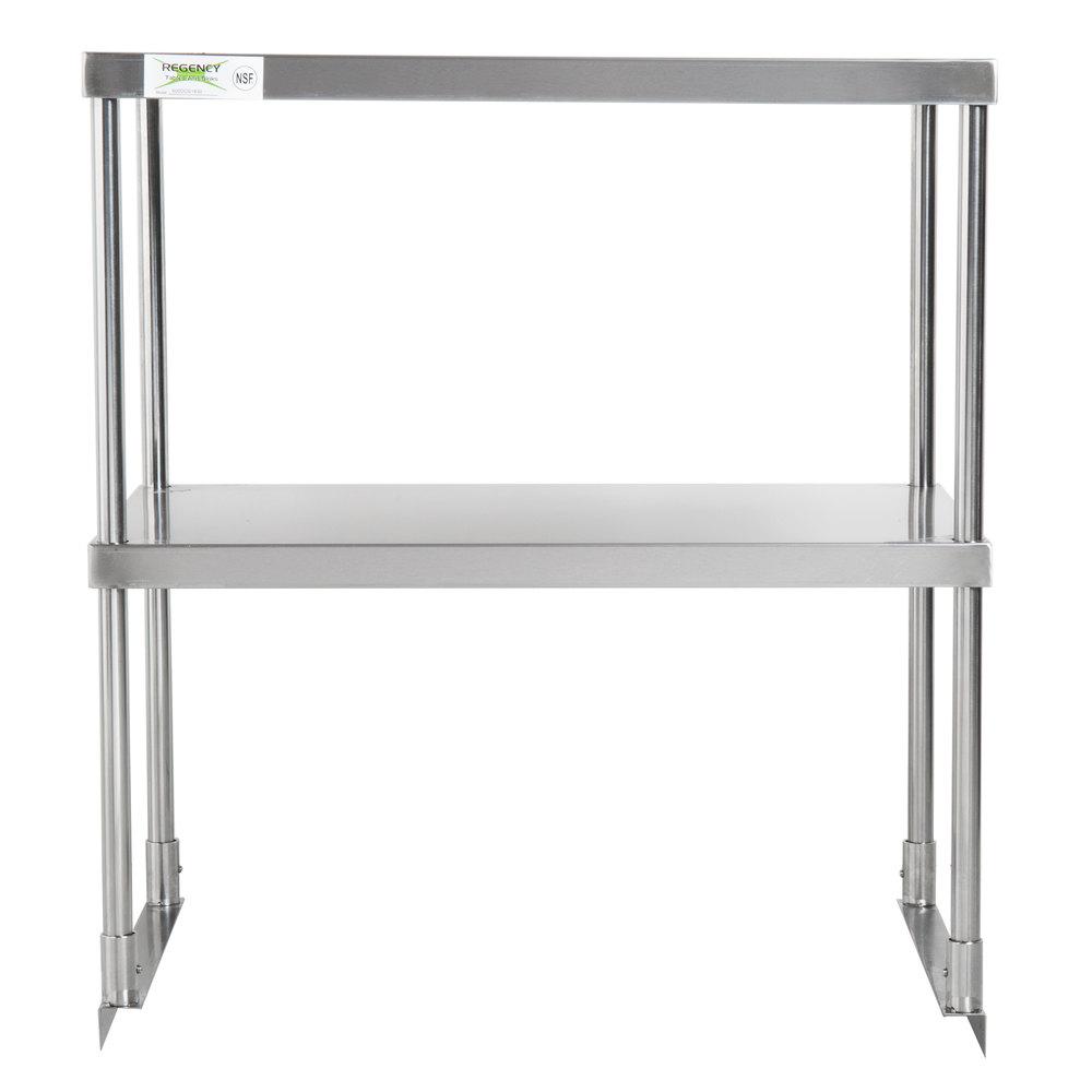 Regency Stainless Steel Double Deck Overshelf - 18 inch x 30 inch x 32 inch