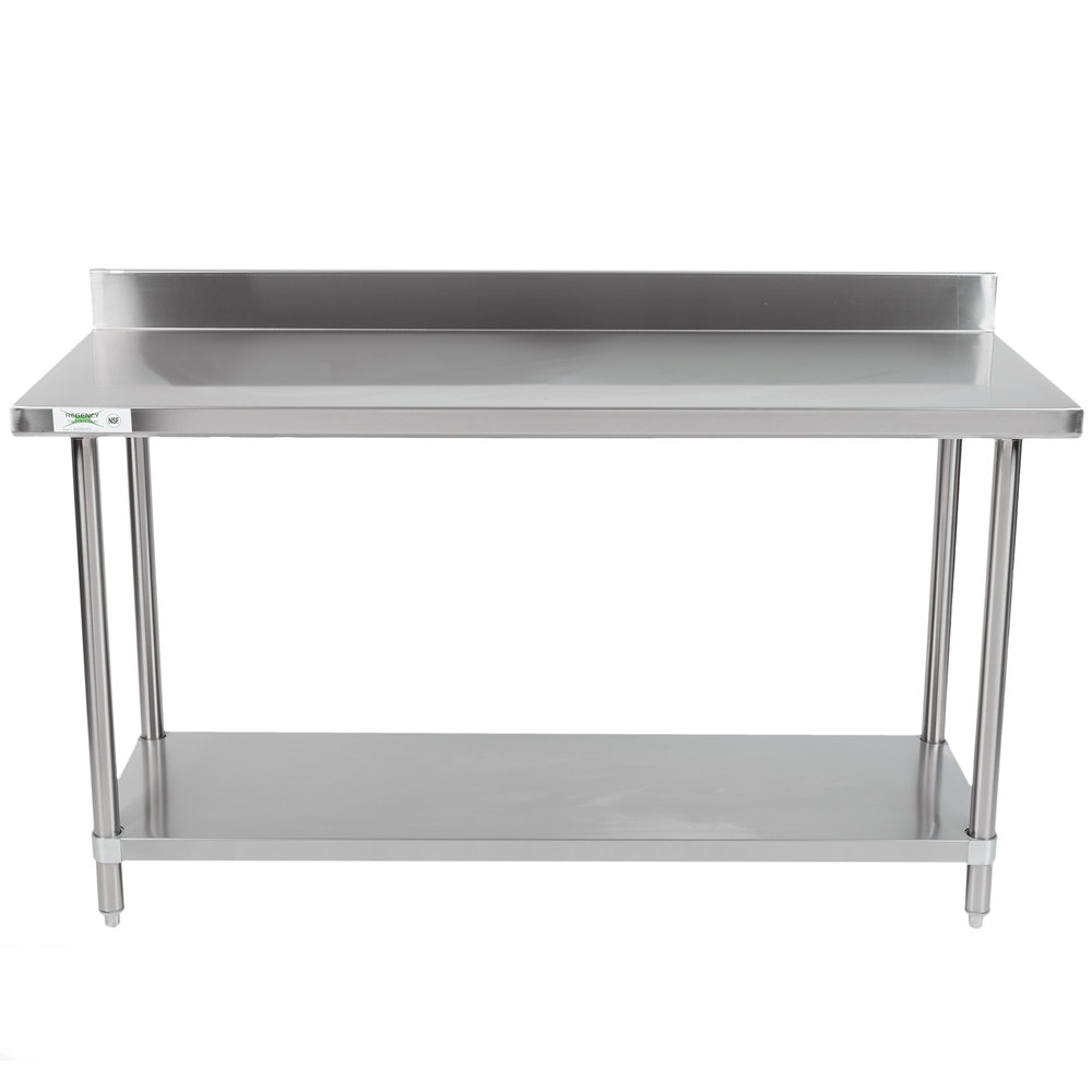 stainless steel commercial work table with 4 backsplash and