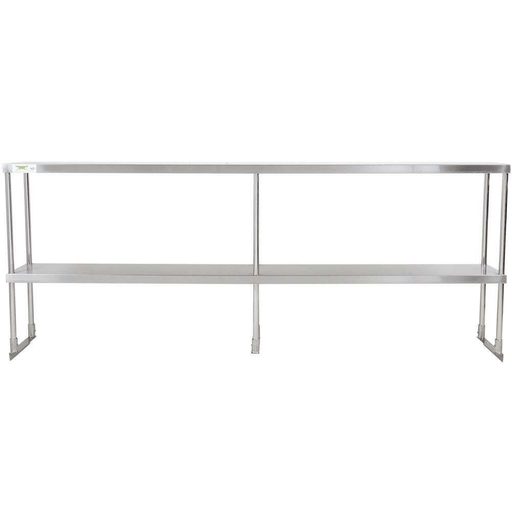 Regency Stainless Steel Double Deck Overshelf - 12 inch x 84 inch x 32 inch