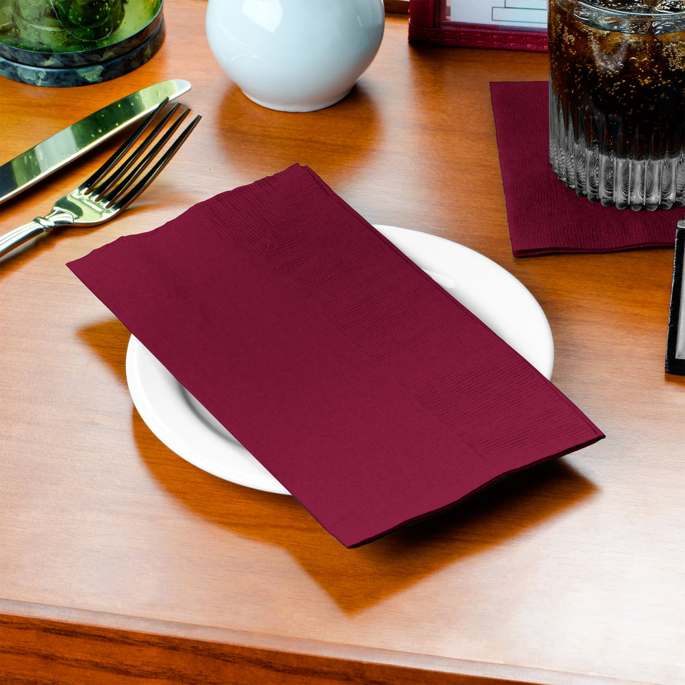 "Choice 15"" x 17"" Customizable Burgundy 2-Ply Paper Dinner Napkin - 1000/Case"