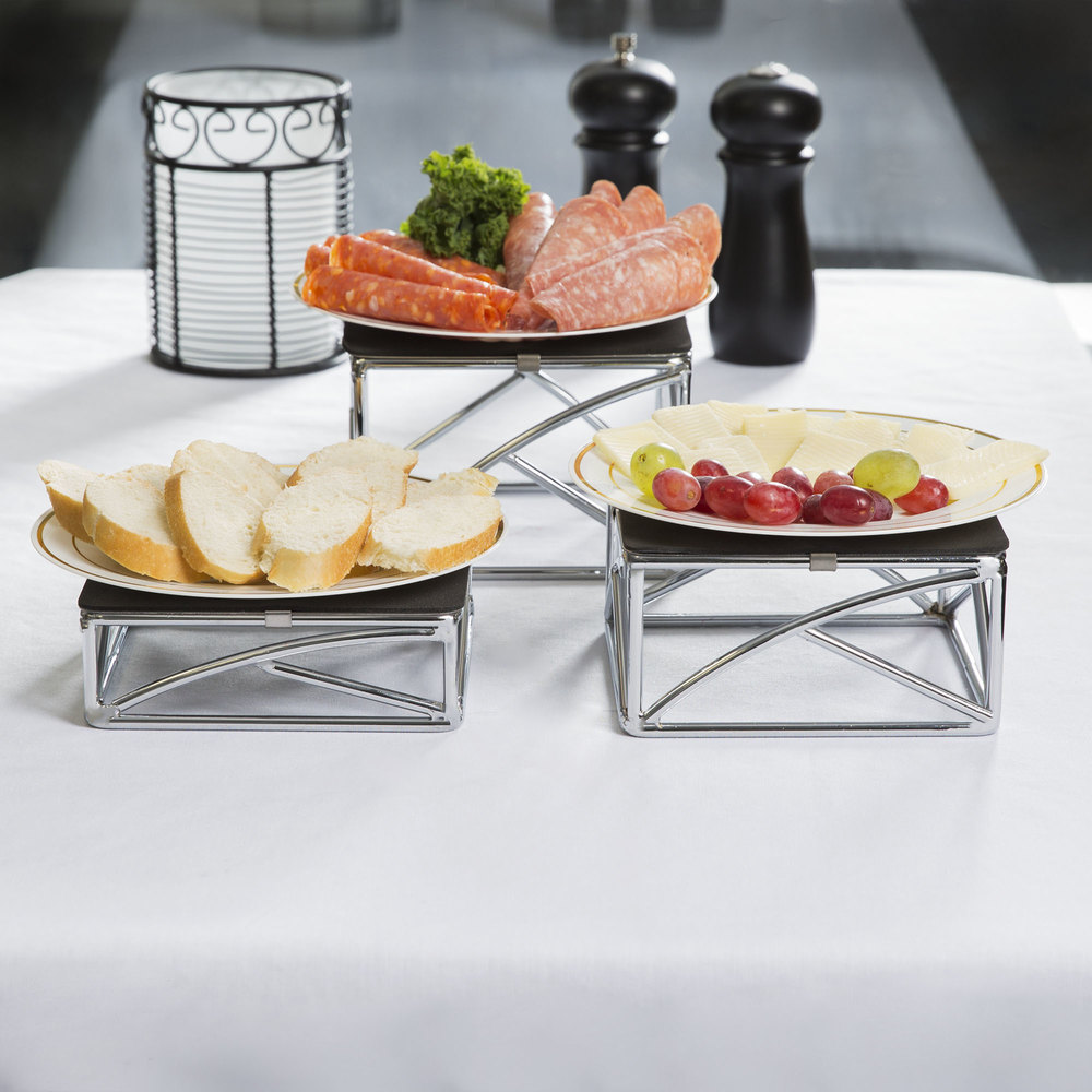 "Tablecraft CR3 3 Piece Chrome Plated Square Metal Riser Set - 2"", 3"", 4"""