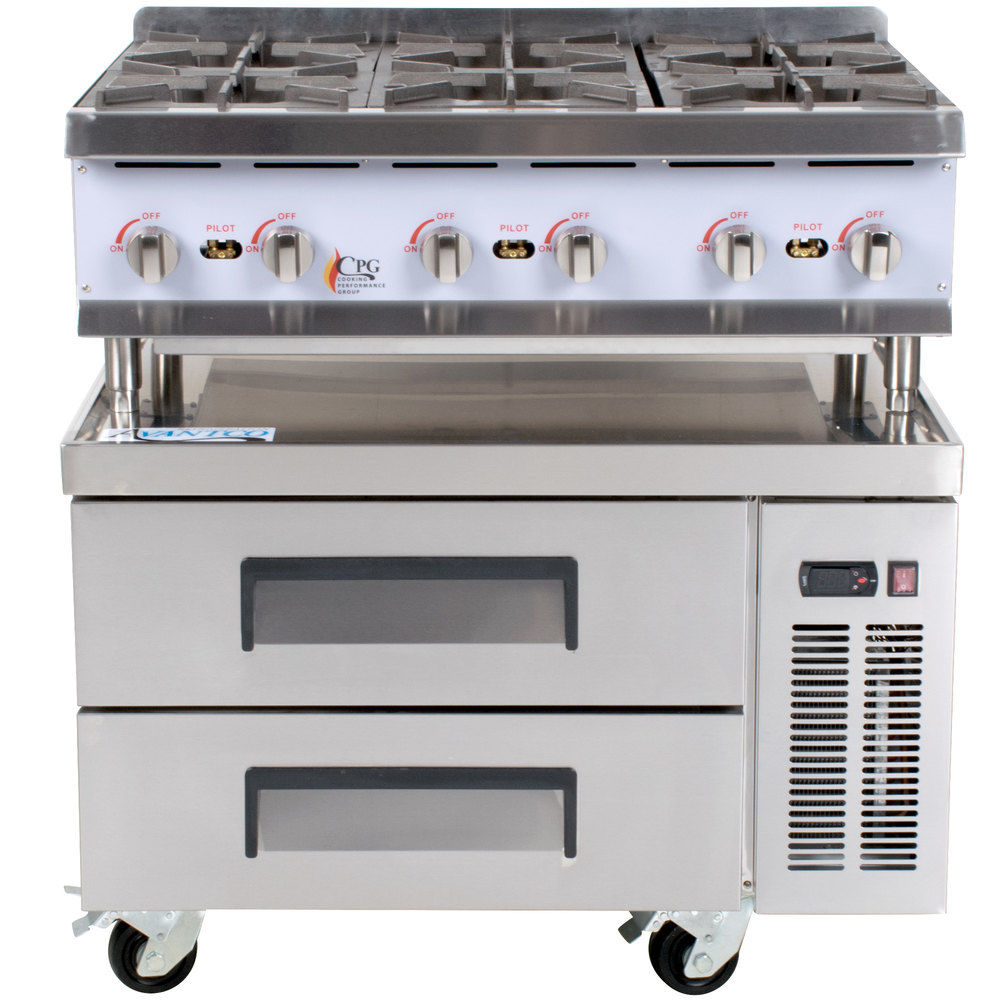 Cooking Performance Group 36RCRBNL 6 Burner Gas Countertop Hot Plate ...