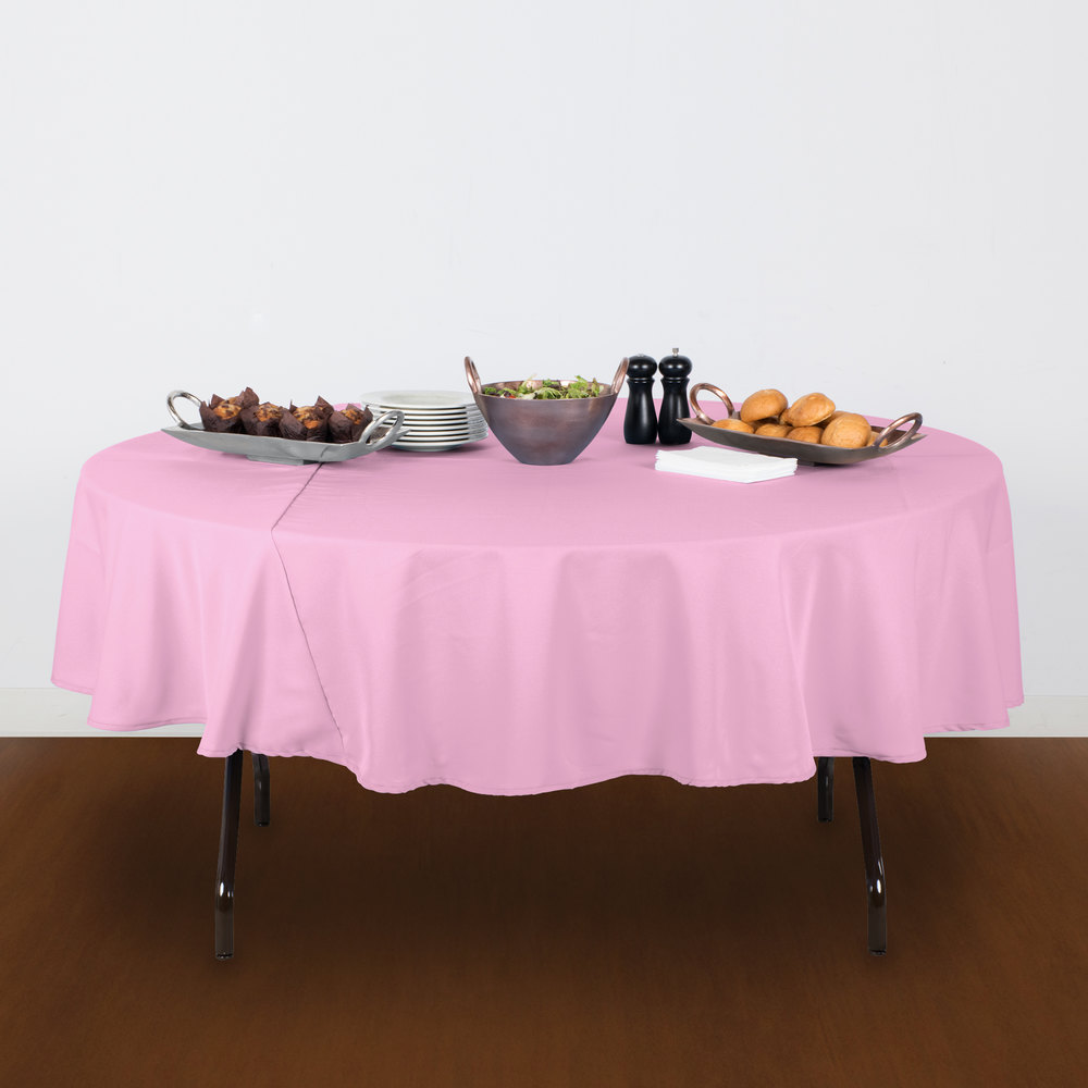 round pink 100 polyester hemmed cloth table cover 120 inch r