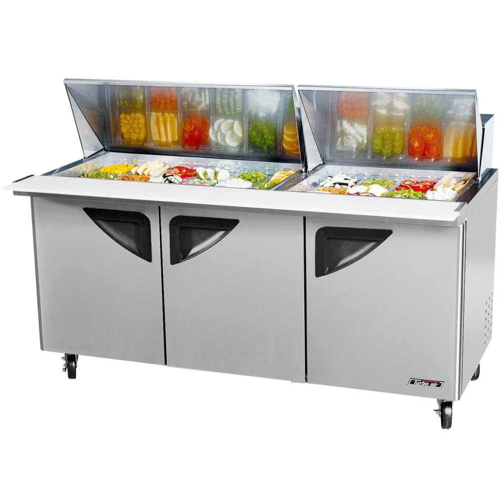 Stainless steel mega top refrigerated sandwich salad prep table with