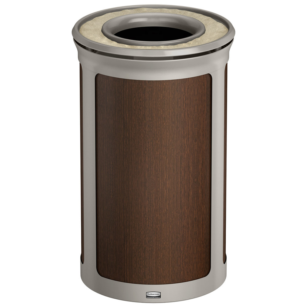 rubbermaid enhance 15 gallon mocha round trash can with ash tray and pearl mouse gray frame