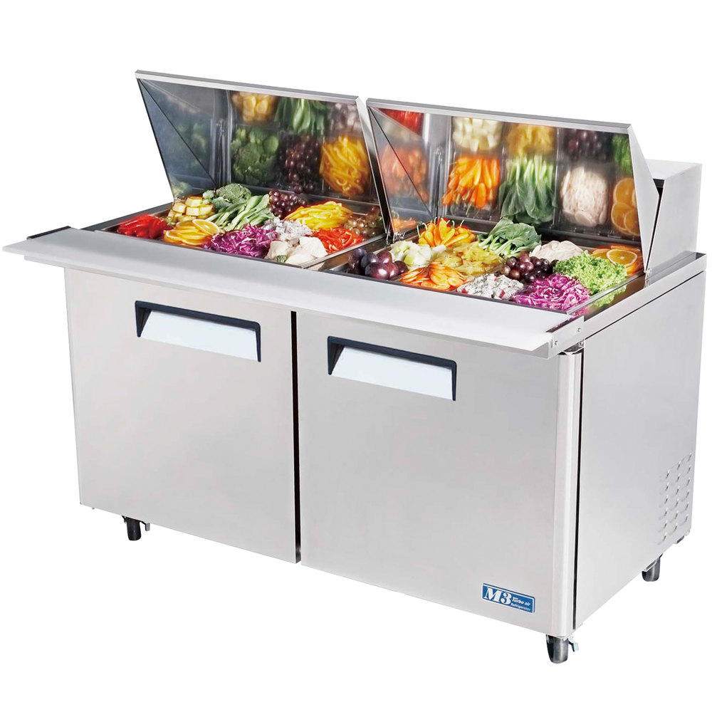 "Turbo Air MST-60-24 60"" 2 Door Mega Top Refrigerated Sandwich Prep Table"