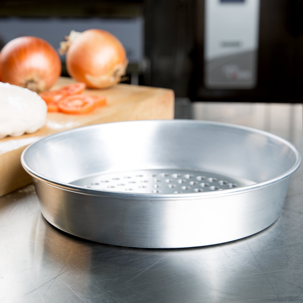 "American Metalcraft SPA90102 10"" x 2"" Super Perforated Standard Weight Aluminum Tapered / Nesting Pizza Pan"