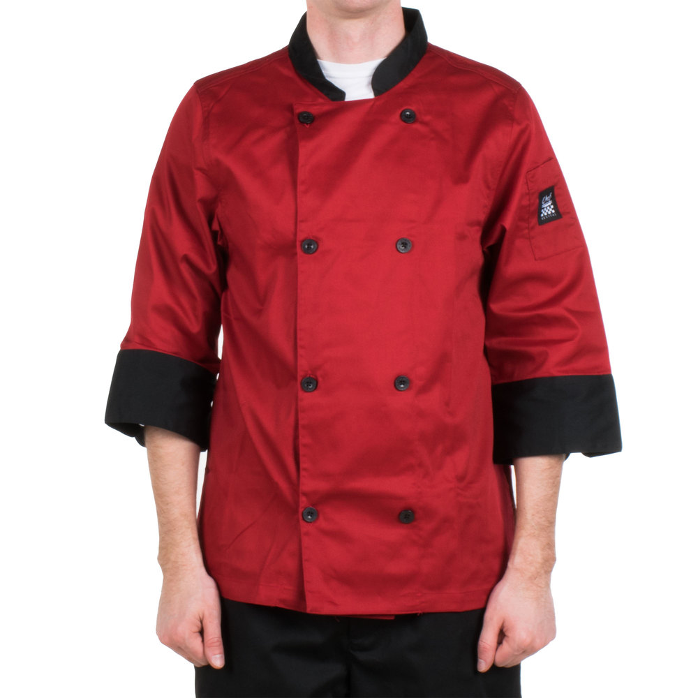 Chef Revival Bronze J134TM-M Cool Crew Fresh Size 42 (M) Tomato Red Customizable Chef Jacket with 3/4 Sleeves - Poly-Cotton