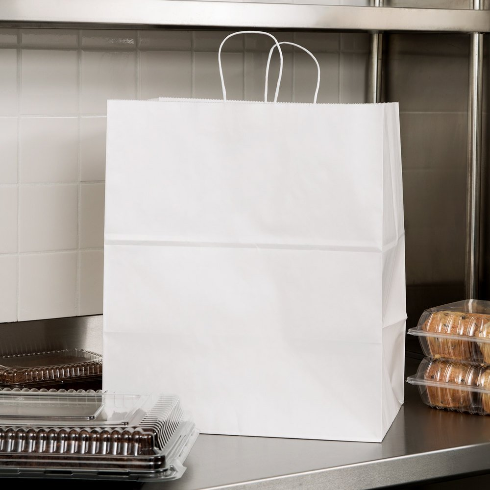 "Duro Grande White Paper Shopping Bag with Handles 16"" x 11"" x 18"" - 200/Bundle"