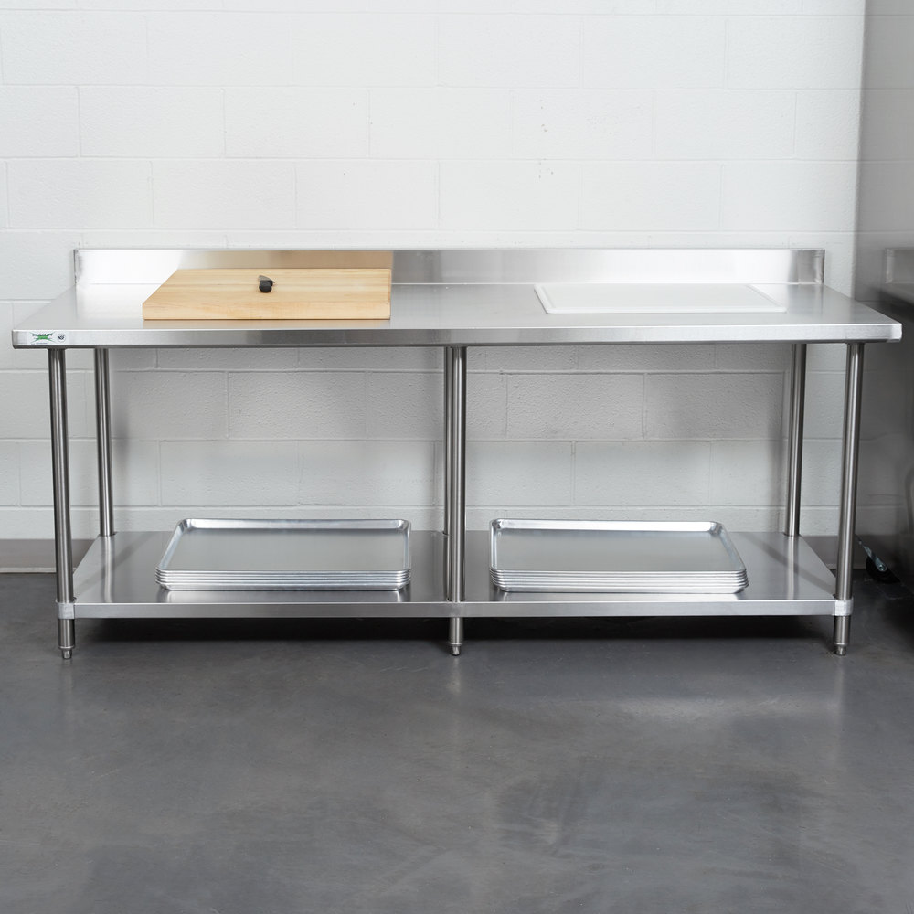 regency 30 x 84 16 gauge stainless steel commercial work table with 4 backsplash and undershelf - Stainless Steel Work Table With Backsplash