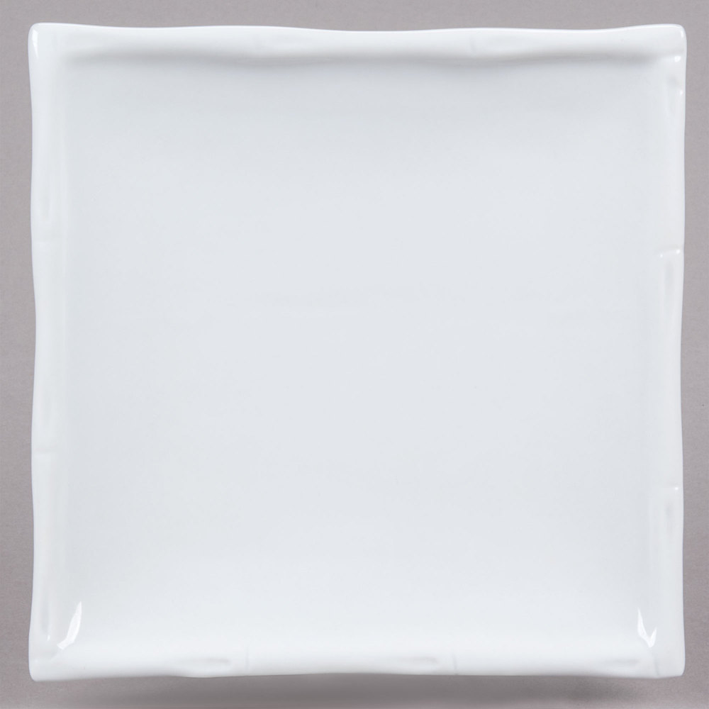 "CAC BAP-25 Bamboo Pattern 13"" x 13"" Bright White Square Porcelain Plate - 12/Case"