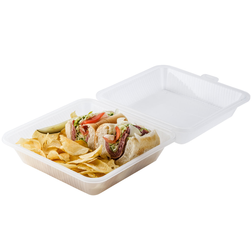 "GET EC-10 9"" x 9"" x 3 1/2"" Clear Reusable Eco-Takeouts Container - 12/Case"