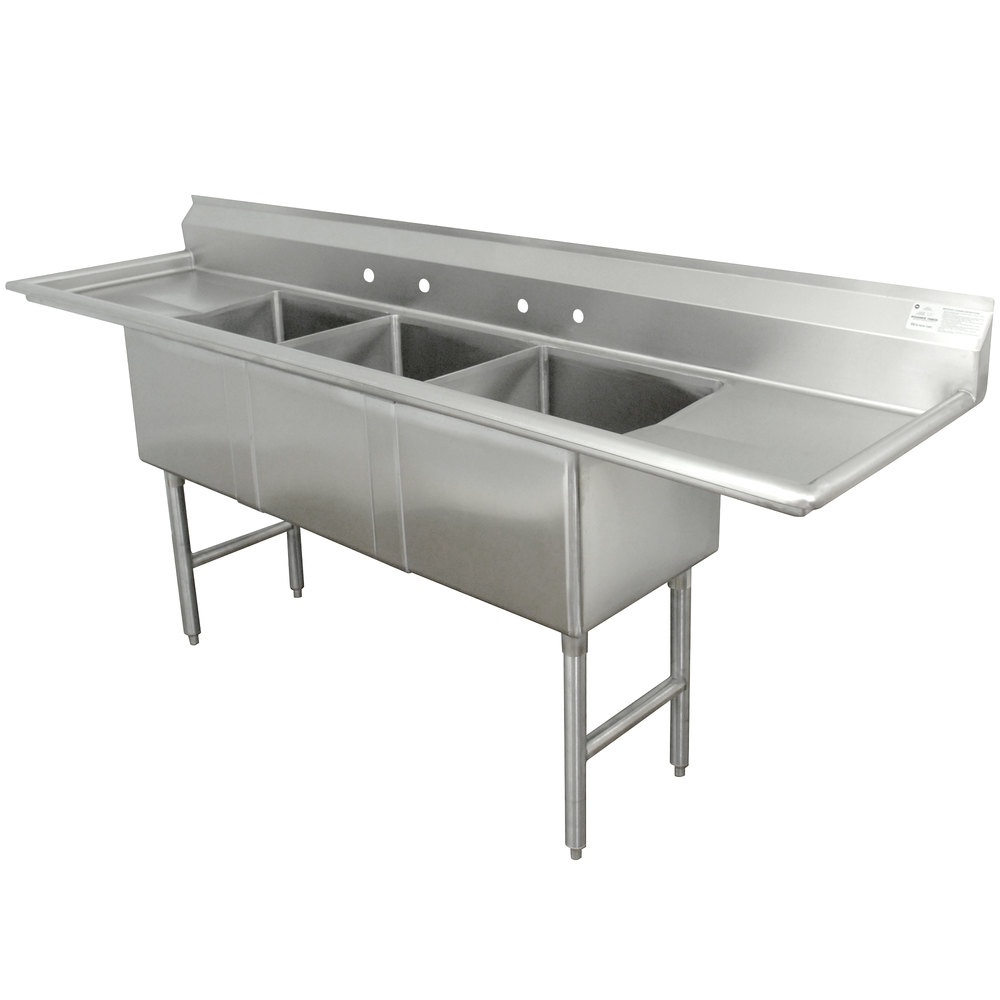 Advance Tabco FC-3-2424-24RL Three Compartment Stainless Steel Commercial Sink with Two Drainboards - 120""