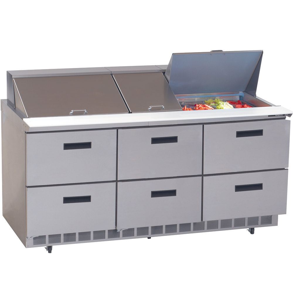 "Delfield UCD4472N-30M 72"" 6 Drawer Mega Top Reduced Height Refrigerated  Sandwich Prep Table"
