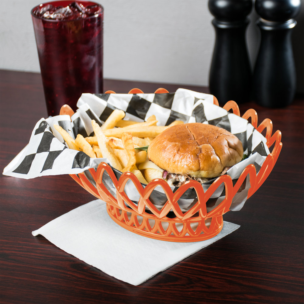 "GET OB-940-RO Rio Orange Oval 10"" x 8 1/4"" Plastic Fast Food Basket 12 / Pack"