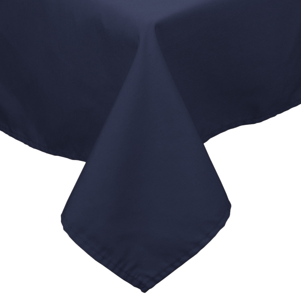 "90"" x 90"" Navy Blue 100% Polyester Hemmed Cloth Table Cover"