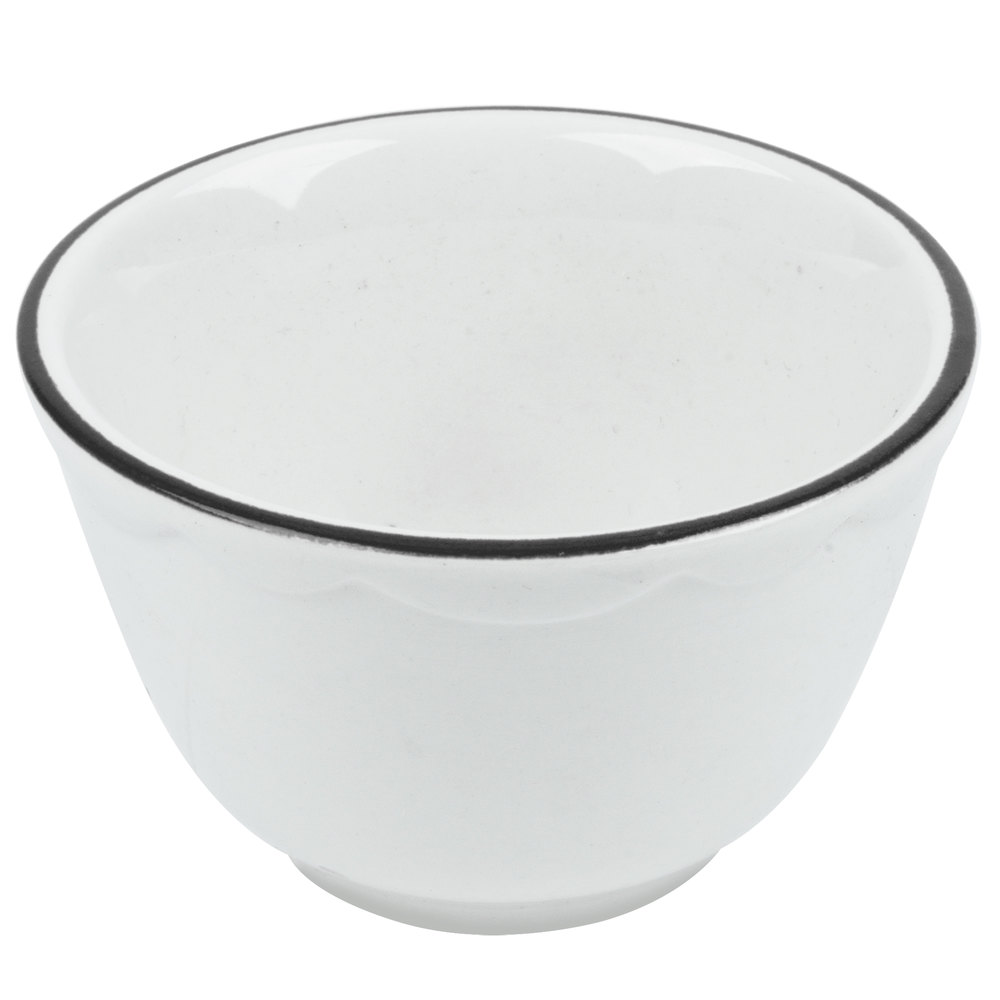 CAC SC-4B 7.25 oz. Scalloped Edge Ivory Seville China Bouillon Bowl with Black Band 36 / Case