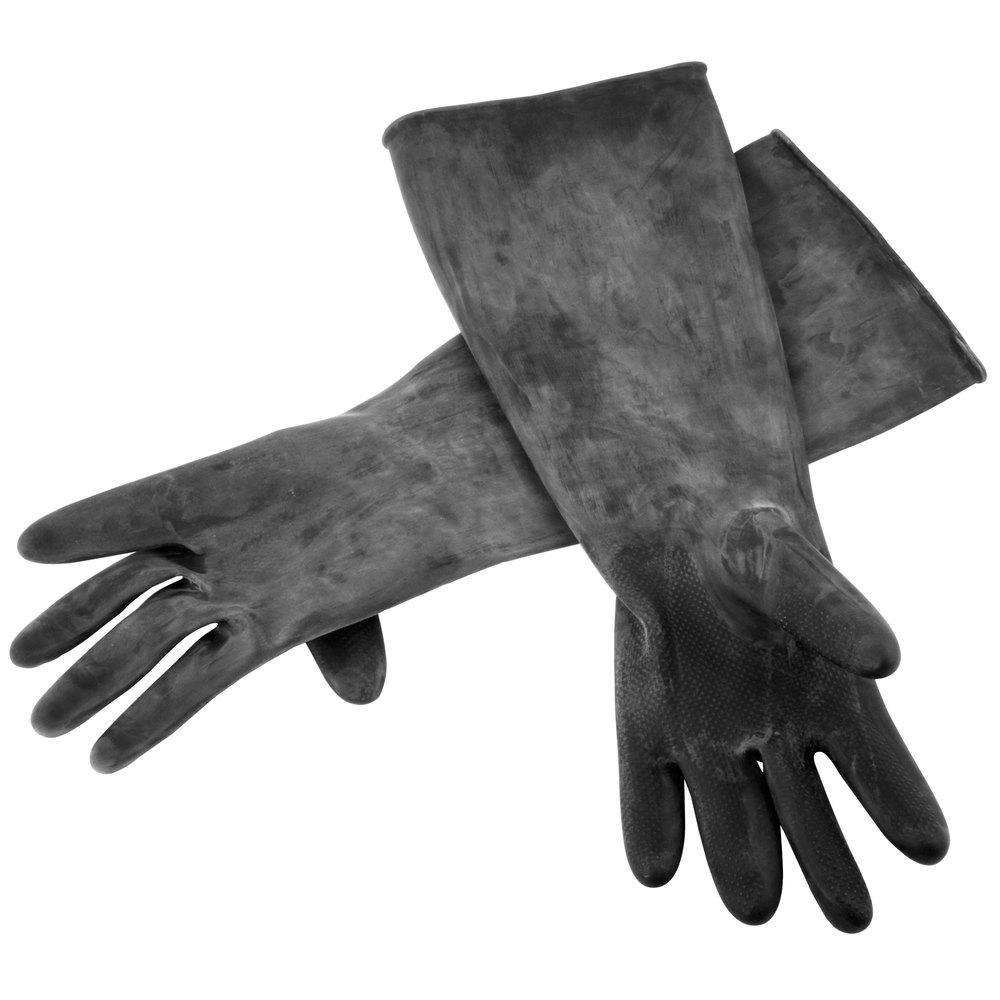 Black vinyl gloves long - Black Natural Latex Gloves 18 Long Main Picture Image Preview
