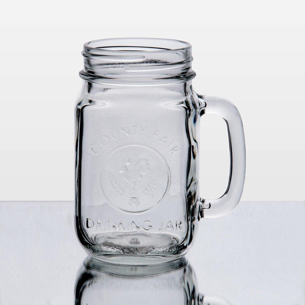 libbey county fair mason jar drinking glasses with handle 16 oz 12 case. Black Bedroom Furniture Sets. Home Design Ideas