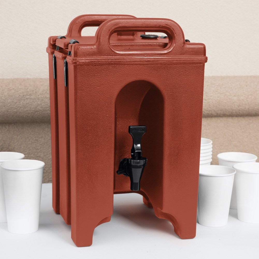 Cambro 100LCD402 Camtainer 1.5 Gallon Red Brown Insulated Beverage Dispenser