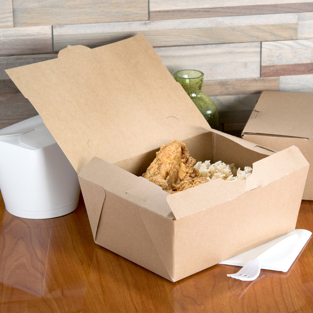 "Microwavable Paper #4 Take Out Box 7 3/4"" x 5 1/2"" x 3 1/2"" - 160/Case"