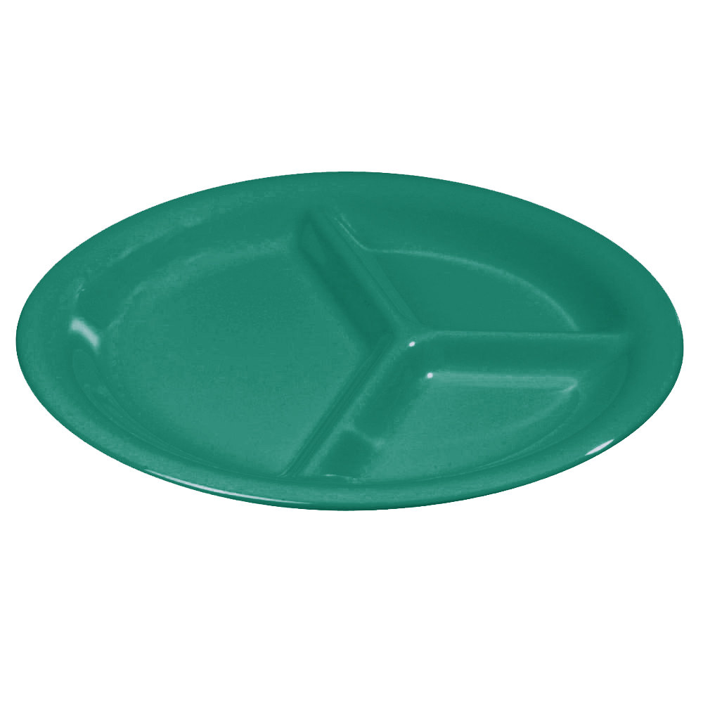 "Carlisle 3300009 10 1/2"" Meadow Green Sierrus 3 Compartment Narrow Rim Dinner Plate - 12 / Case"
