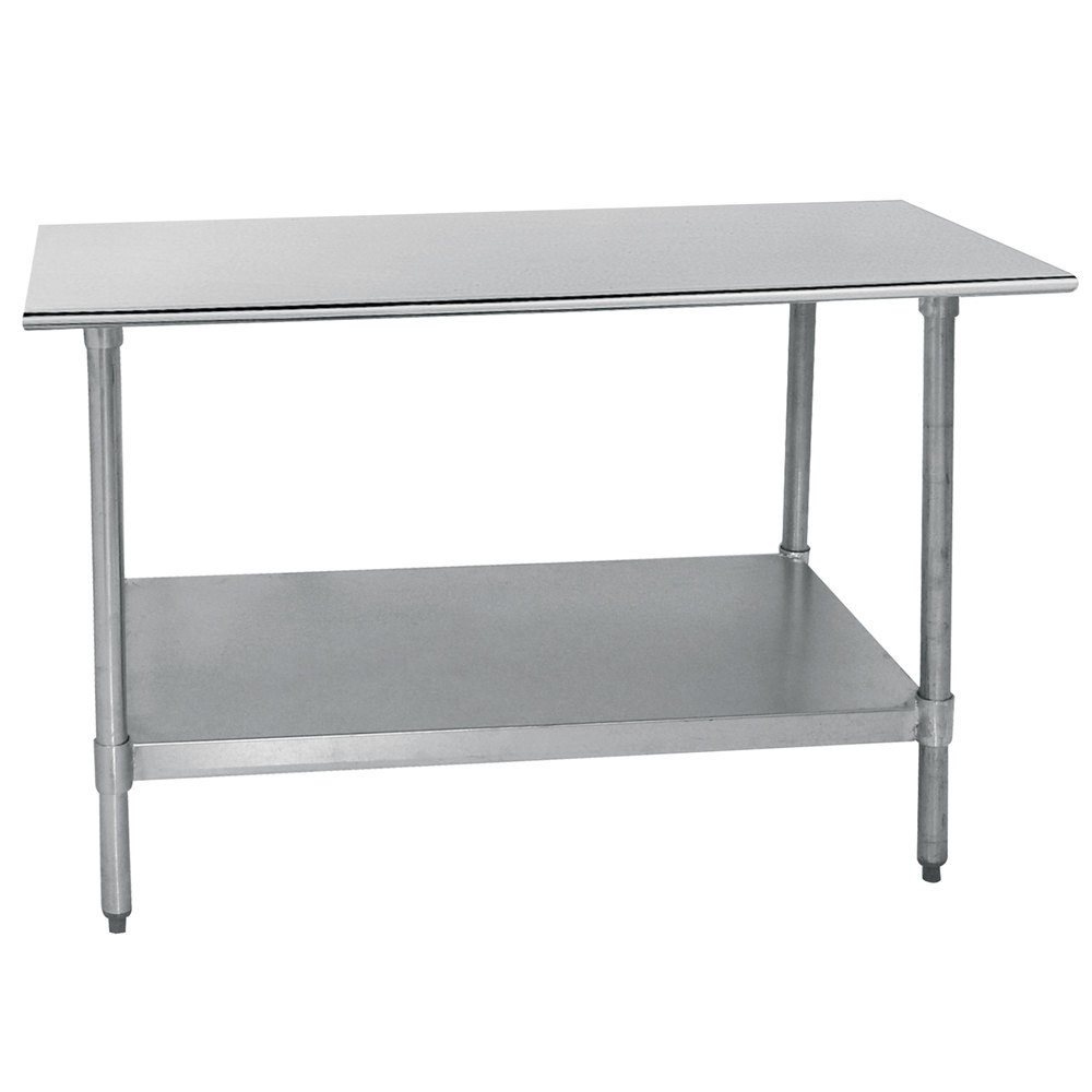 "Advance Tabco TT-305-X 30"" x 60"" 18 Gauge Stainless Steel Work Table with Galvanized Undershelf"