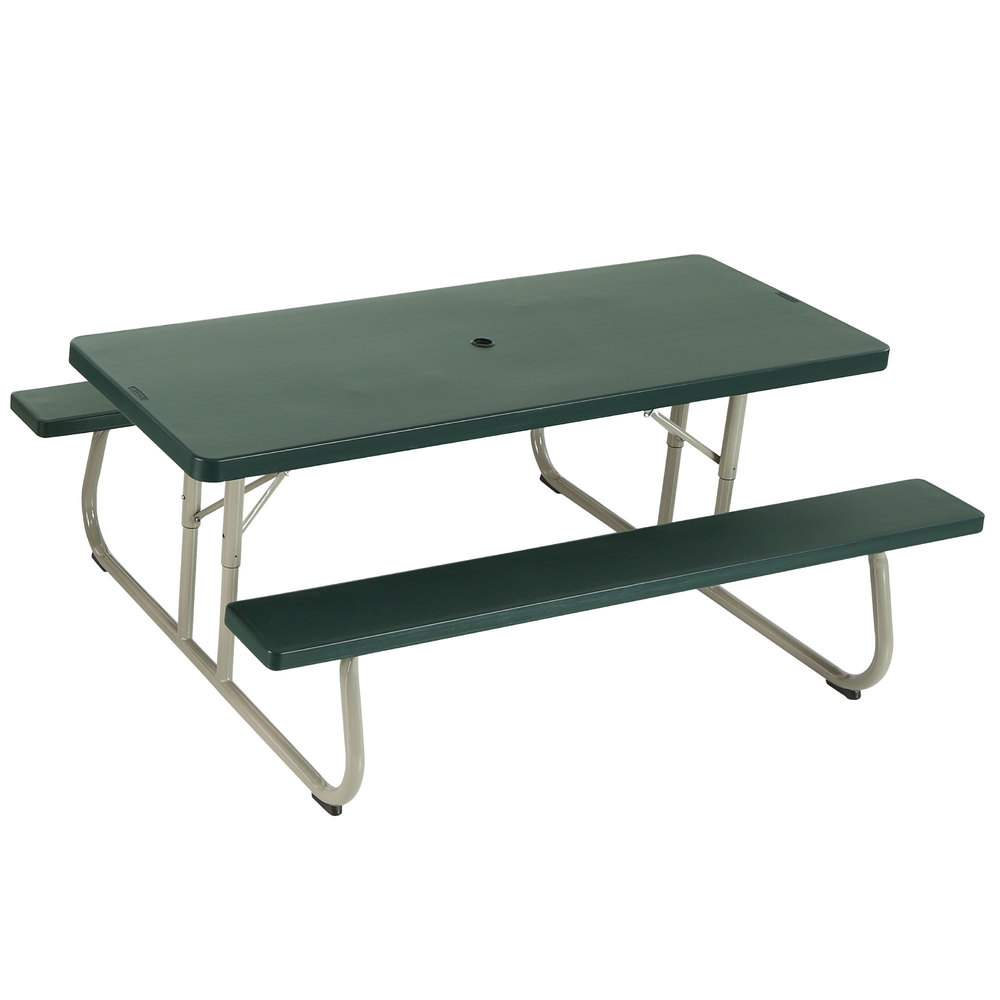 lifetime 42123 30 x 72 rectangular hunter green plastic folding picnic table with attached. Black Bedroom Furniture Sets. Home Design Ideas