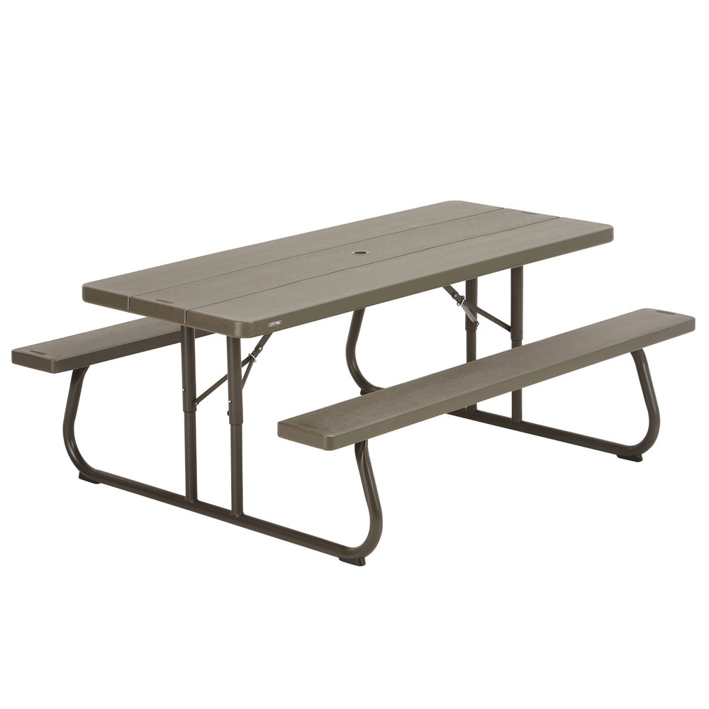 Lifetime 60105 30 x 72 rectangular brown faux wood folding picnic table with attached benches 30 bench