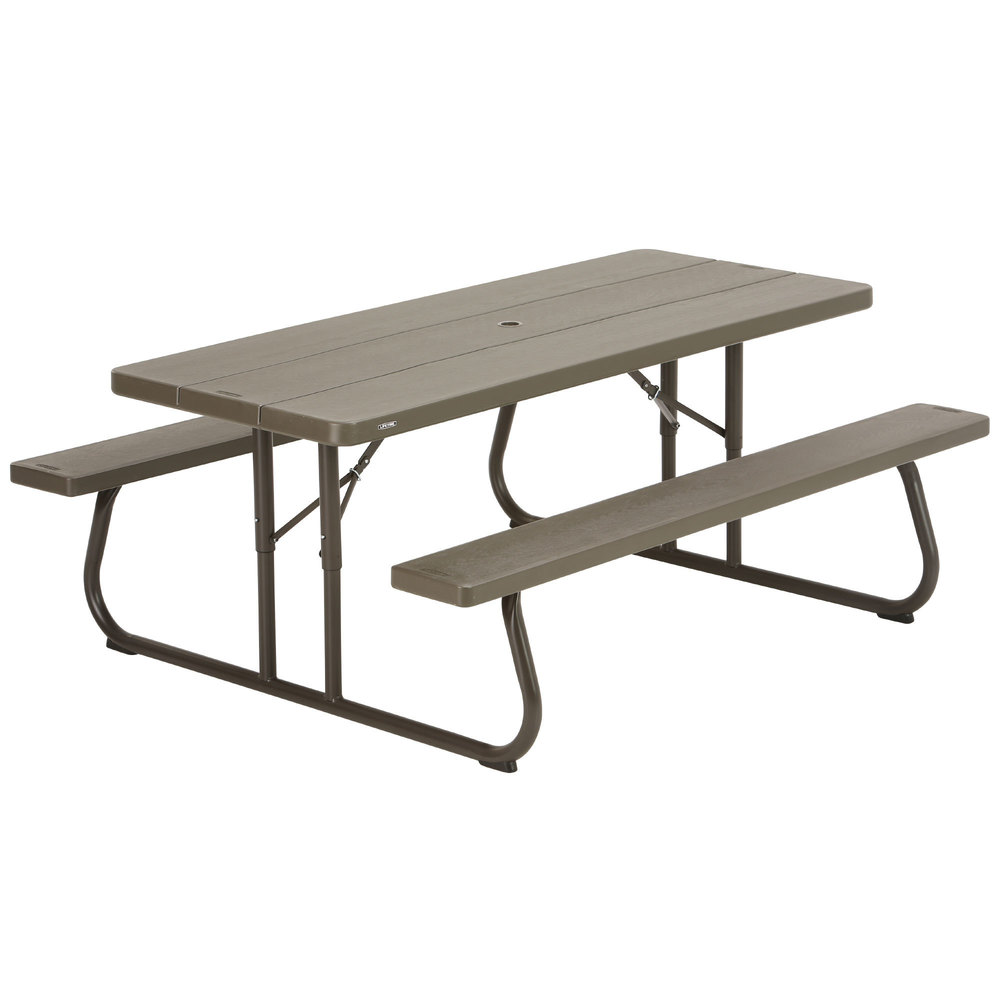 lifetime 460112 30 x 72 rectangular brown faux wood folding picnic table with attached benches. Black Bedroom Furniture Sets. Home Design Ideas