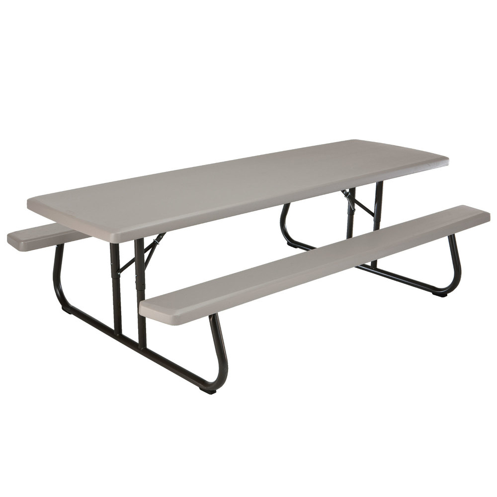 Lifetime 480123 30 x 96 rectangular putty plastic folding picnic plastic folding picnic table with attached benches main picture image preview watchthetrailerfo