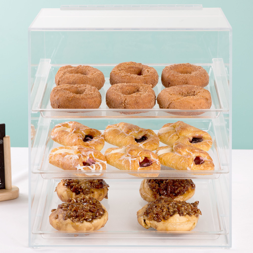 "Cal-Mil 261 Classic Three Tier Acrylic Display Case with Rear Door - 15 1/2"" x 15"" x 16"""