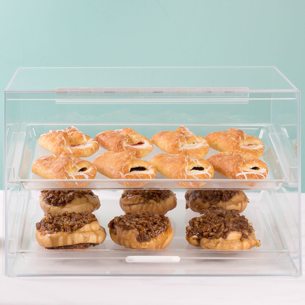 "Cal-Mil 255-S Classic Two Tier Acrylic Display Case with Front and Rear Doors - 19"" x 15"" x 11"""