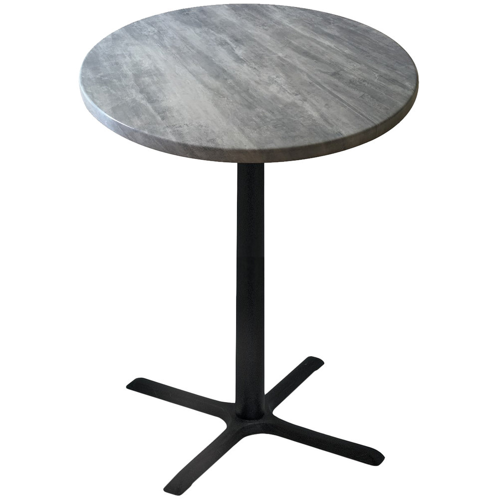 Holland Bar Stool Od211 3036bwod36rgrystn 36 Round Greystone Outdoor Indoor Counter Height Table With Cross Base