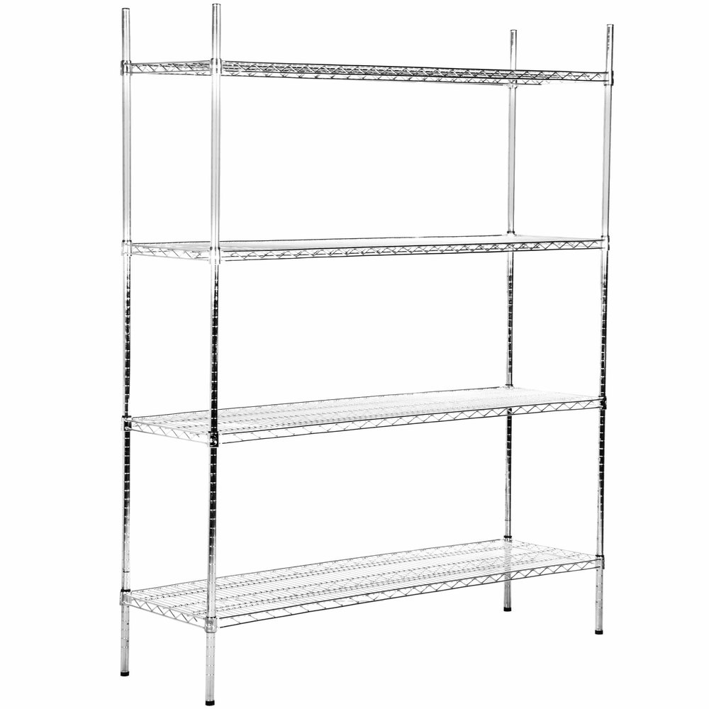 Regency 18 inch x 60 inch NSF Stainless Steel 4-Shelf Kit with 74 inch Posts