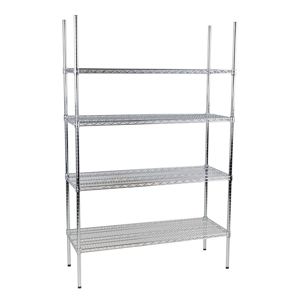 Regency 18 inch x 48 inch NSF Stainless Steel 4-Shelf Kit with 74 inch Posts