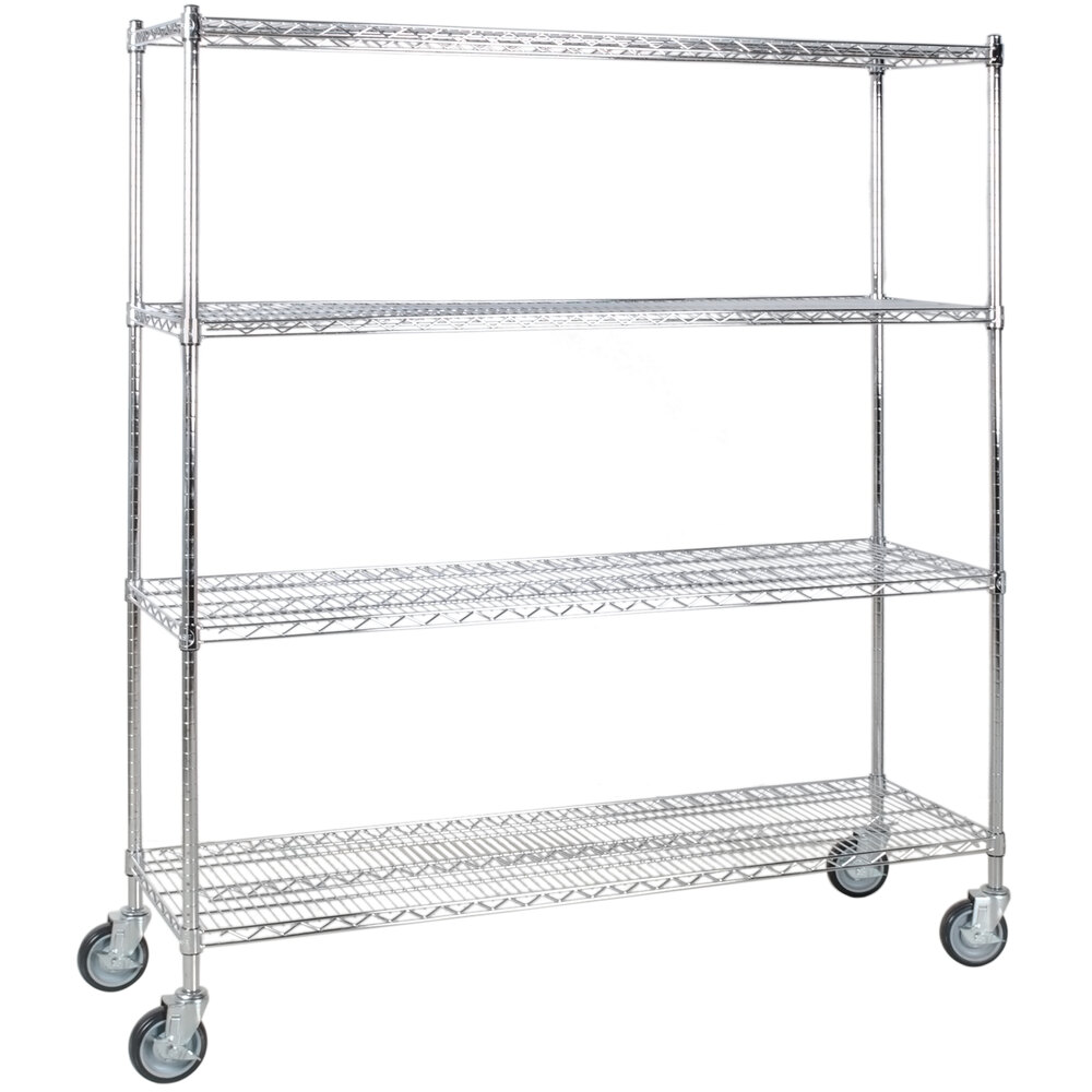 Regency 18 inch x 60 inch NSF Stainless Steel 4-Shelf Kit with 64 inch Posts and Casters