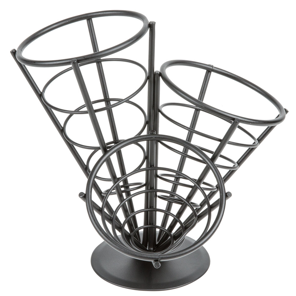 "American Metalcraft FCB33 Wrought Iron 3-Cone Basket - 10 1/2"" x 10"""