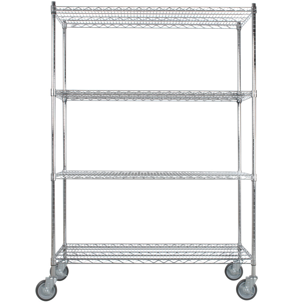 Regency 24 inch x 48 inch NSF Stainless Steel 4-Shelf Kit with 64 inch Posts and Casters