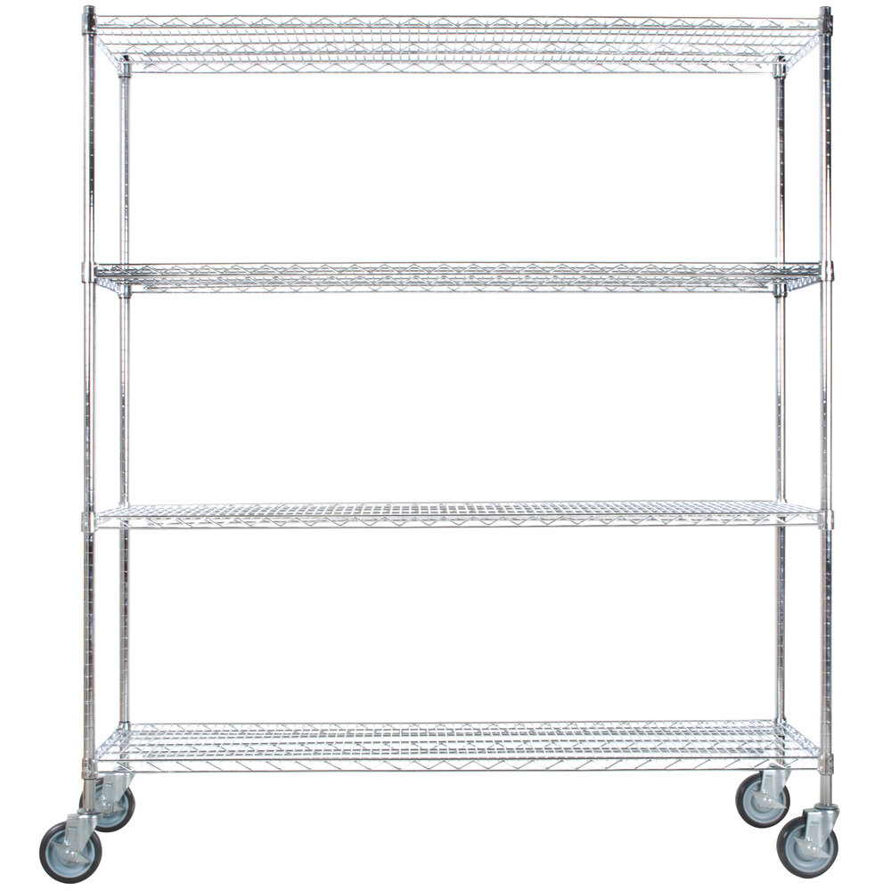 Regency 24 inch x 60 inch NSF Stainless Steel 4-Shelf Kit with 64 inch Posts and Casters