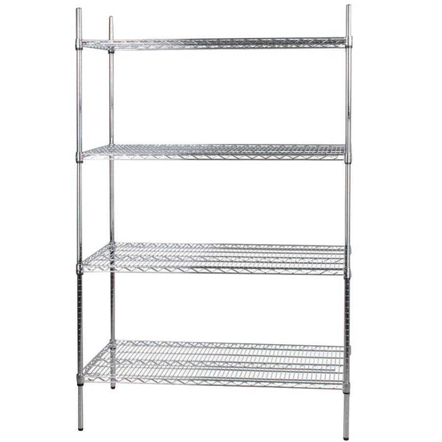 Regency 24 inch x 48 inch NSF Stainless Steel 4-Shelf Kit with 74 inch Posts