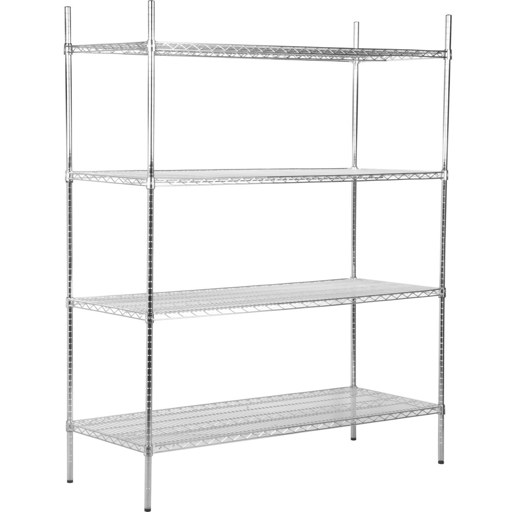 Regency 24 inch x 60 inch NSF Stainless Steel 4-Shelf Kit with 74 inch Posts