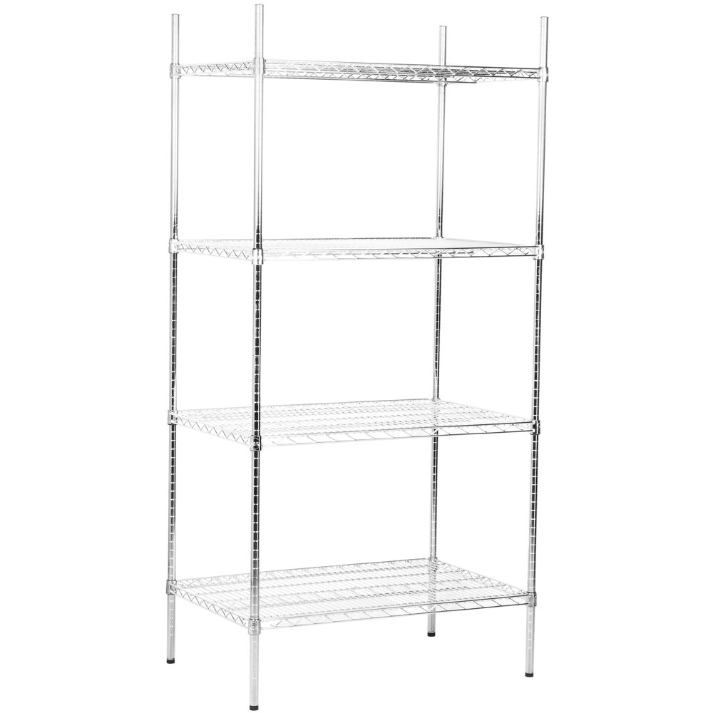 Regency 24 inch x 36 inch NSF Stainless Steel 4-Shelf Kit with 74 inch Posts