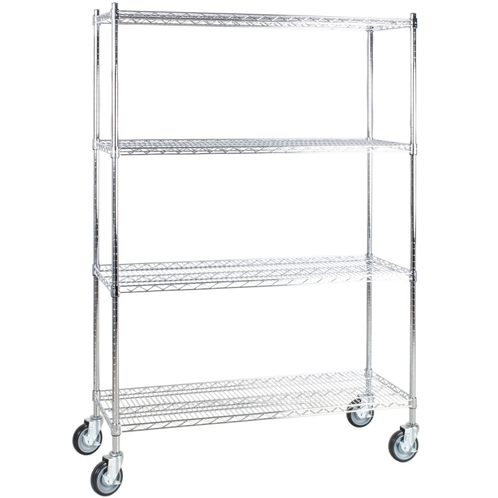 Regency 18 inch x 48 inch NSF Stainless Steel 4-Shelf Kit with 64 inch Posts and Casters