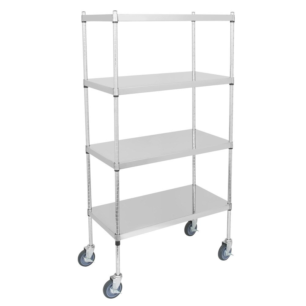 Regency 24 inch x 36 inch NSF Stainless Steel Solid Mobile 4-Shelf Kit with 64 inch Posts