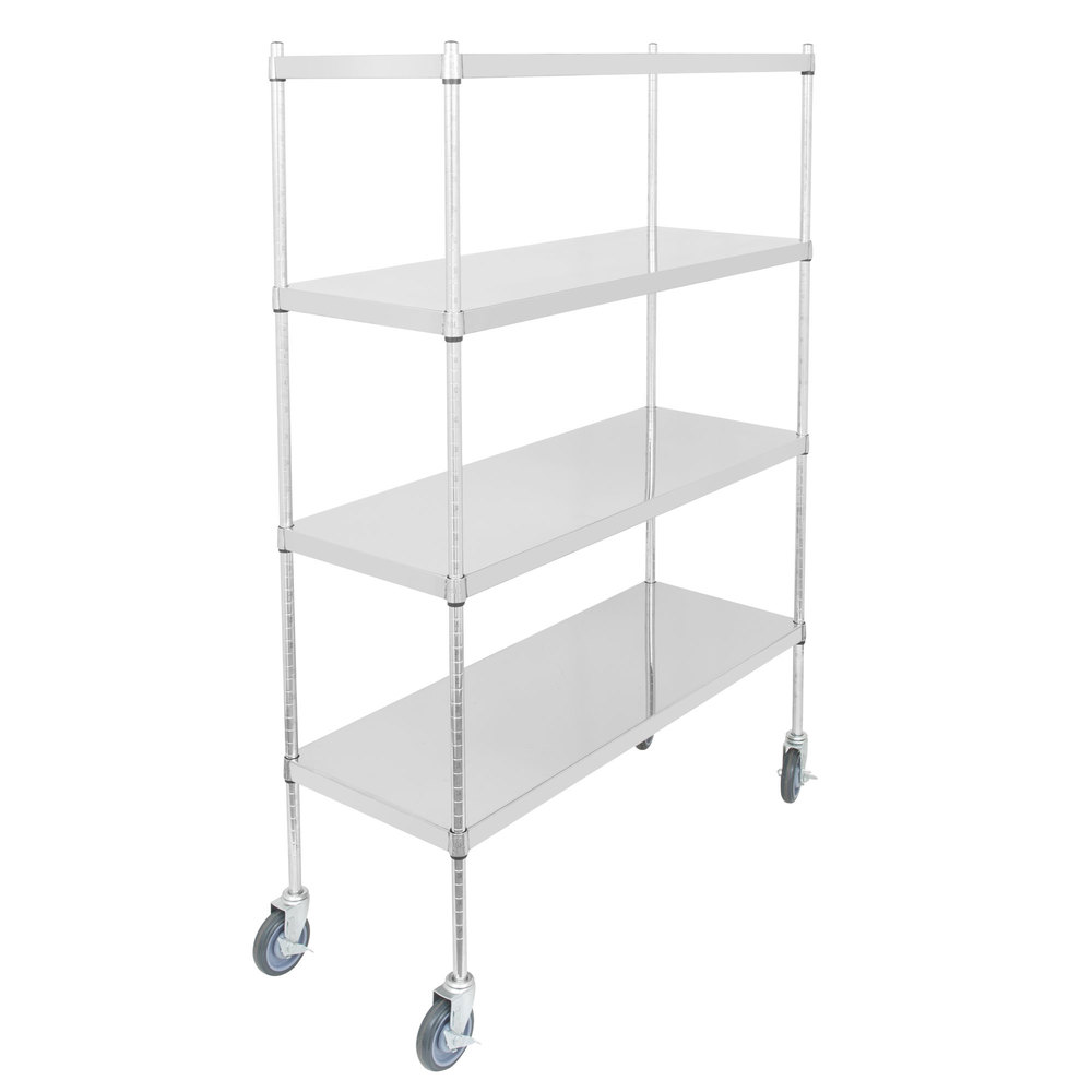 Regency 18 inch x 48 inch NSF Stainless Steel Solid Mobile 4-Shelf Kit with 64 inch Posts