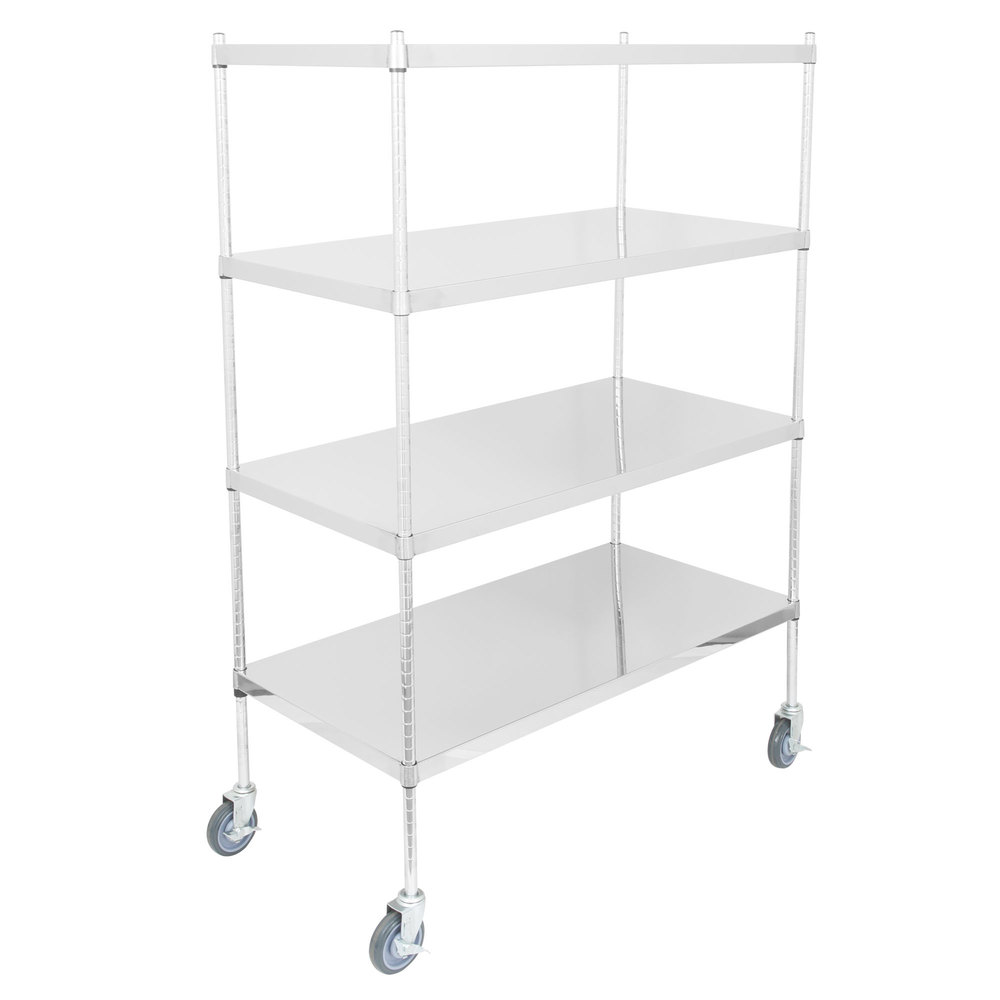 Regency 24 inch x 48 inch NSF Stainless Steel Solid Mobile 4-Shelf Kit with 64 inch Posts